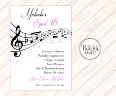 Music Notes Invitation Musical Party Sheet Note Sweet 16 Invit