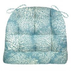 Ariel Ocean Blue Blue chair pad is made in a sea fan coral pattern in a serene shade of marine blue -perfect for your beach house or any room with a coastal decor! #coral #aqua