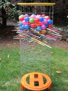 Best DIY Backyard Games - Giant DIY Kerplunk - Cool DIY Yard Game Ideas for Adults, Teens and Kids - Easy Tutorials for Cornhole, Washers, Jenga, Tic Tac Toe and Horseshoes - Cool Projects for Outdoor Parties and Summer Family Fun Outside Fun Outdoor Games, Outdoor Activities, Activities For Kids, Outdoor Toys, Outdoor Parties, Outdoor Entertaining, Outdoor Games For Adults, Indoor Games, Preschool Games