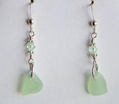 Green sea glass earrings with  Austrian by Jewelrybeyondthesea $20.00