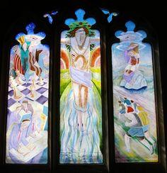 Lent Term window - Abingdon School description:Fused glass Glass - Gallery - Mynheer-art: the fine art site of painter and sculptor Nicholas Mynheer
