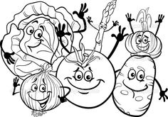 Black and white cartoon illustration of funny vegetables food characters group for coloring book stock vector Food Cartoon, Cute Cartoon, Caricature, Funny Vegetables, Cartoon Vegetables, Vegetable Cartoon, Black And White Cartoon, Character Design Girl, Step By Step Drawing