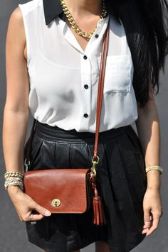 t+j Designs jewelry, Coach Bag, faux leather skirt and top by F21, black and white