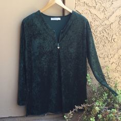 Vintage Green Velvet Blouse  +Accent zipper. Lovely soft green velvet. Shoulder pads. pre loved. Vintage. Thank you for checking out my closet ❤️ Componix  Tops Blouses