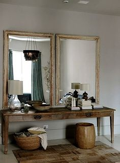 House call: Harriet Maxwell and Andrew corrie of Ochre in NYC. A pair of antique mirrors hangs over a vintage farm table in the dressing area. Deco Design, Design Case, Design Design, Modern Design, Sweet Home, Turbulence Deco, Interior Decorating, Interior Design, Foyer Decorating