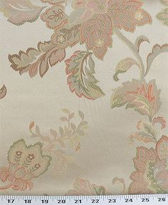 A traditional jacquard floral with peach, spring green and gold on a beige background. Big flowers are about This fabric pairs with several others in the same colorway. Excellent for upholstery, duvets, pillows or draperies.