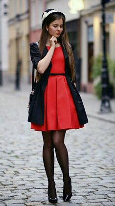 Globed black coat, red dress, black stockings and high heels - Fashion Tights Dress With Stockings, Black Stockings, Pantyhose Outfits, Fashion Tights, Evening Outfits, Petite Women, Black Tights, Beautiful Legs, Sexy Legs