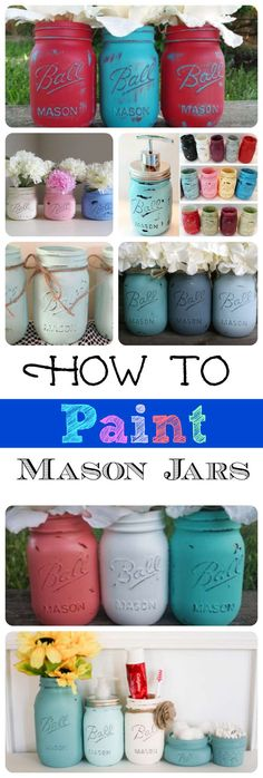 These are adorable mason jar project ideas! Painting glass is easy! These are adorable mason jar project ideas! Painting glass is easy! Painted Glass Bottles, Painted Mason Jars, Bottles And Jars, Glass Jars, Chalk Paint Mason Jars, Rustic Mason Jars, Pot Mason Diy, Mason Jar Gifts, Jar Crafts