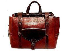 Handmade Genuine Grain Leather Rugged Travel Duffle Overnight Bag Luggage Brown