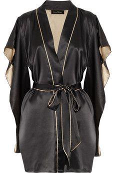 Jenny Packham Gray Two-tone Silk-satin Kimono Robe Kimono Dressing Gown, Kimono Design, Silk Kimono Robe, Jenny Packham, Pretty Lingerie, Fashion Books, Women's Fashion, Lingerie Collection, Silk Satin
