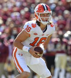 Clemson Trevor Lawrence hit on all cylinders in romp vs. Florida State Clemson Trevor Lawrence hit on all cylinders in romp vs. Clemson Quarterback, College Football Playoff, Ohio State Football, National Football League, American Football, Football Squads, Football Helmets, Football Recruiting, Football Highlight