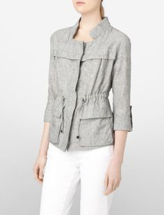 linen blend roll up drawstring jacket ▲ calvin klein, love the collar and sleeve lenght.  What's not to like?