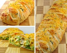 Broccoli Cheddar Chicken Crescent Braid...Gonna make this tonight with broccoli and cheese soup!
