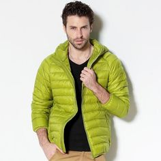c5e64fe1e26 2017 New Men White Duck Down Jacket Portable Hooded Down Coat Ultralight Men  Winter Coat Warm Thermal Down Parkas Plus Size