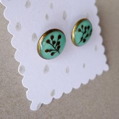 Elderberry stud earrings #gift #earrings #teal #botanical $30.00