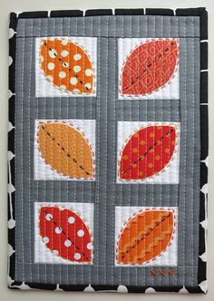 """""""Summer Leaves"""" Mug Rug by mamacjt, via Flickr perfect for the end of summer beginning of fall"""