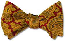 bow ties paisley red wool silk american made