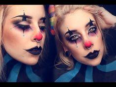EYES: Painterly paint pot- Mac cosmetics Blacktrack fluid line gel eyeliner- Mac Cosmetics TOO FACE better than sex mascara Satin Taupe & Carbon eyeshadows- . Halloween Clown, Gruseliger Clown, Clown Faces, Cute Clown Costume, Circus Clown, Girl Clown Makeup, Creepy Clown Makeup, Scary Clowns, Creepy Circus