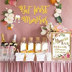 MORDUN Mimosa Bar Sign Banner Tags - Gold Floral Decorations for Bridal Shower Bubbly Bar Champagne Baby Shower Wedding Birthday Party Graduation Fiesta Unique Bridal Shower, Bridal Shower Games, Bridal Shower Banners, Bridal Shower Pink, Bridal Banner, Bridal Showers, Shower Favors, Baby Showers, Mimosa Bar Sign