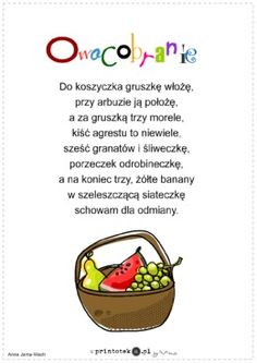 Owocobranie - wierszyk - Printoteka.pl Activities For Kids, Crafts For Kids, Motto, Kids Learning, Hand Lettering, Poems, Preschool, Teaching, How To Plan