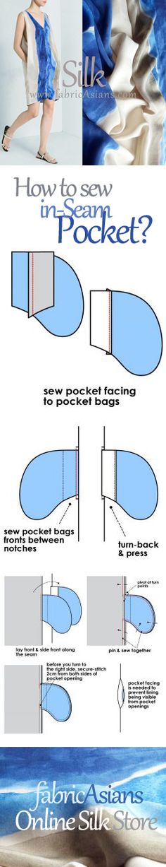 How to sew in-seam pocket? pocket tutorial. sewing tutorial. how to insert pocket?