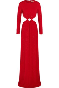 MICHAEL KORS Cutout Embellished Stretch-Crepe Gown. #michaelkors #cloth #gown