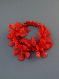 Vintage Red Celluloid Chain Bracelet with by HiddenStairwayFinds