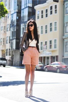 high-waisted shorts.