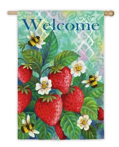 Garden Bees and Strawberries Vertical Flag