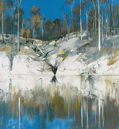 Arthur Boyd - Shoal Haven River 1976 Landscape Artwork, Abstract Landscape Painting, Landscape Illustration, Australian Painting, Australian Artists, Arthur Boyd, Indigenous Art, Paintings I Love, Painting & Drawing