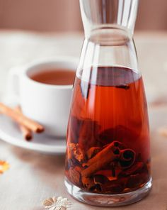 cinnamon infused tea, cold or hot.