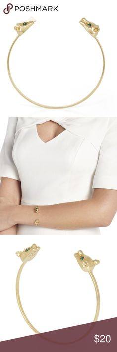 BCBGMaxAzria Gold Panther Cuff Bracelet NEW Sleek and beautiful as the panther, this charming cuff bracelet is a must-have for unique, covetable looks. Thin wire cuff bracelet Panther applique embellishments at ends Stone detail at eyes Open at front Brass, Tin, Glass BCBGMaxAzria Jewelry Bracelets