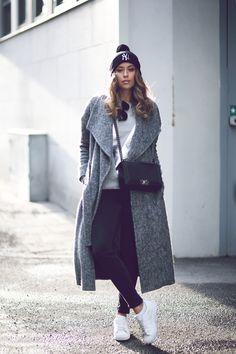Kenza Zouiten_grey coat, adidas sneakers