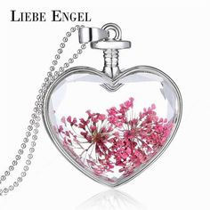 #AliExpress LIEBE ENGEL Romantic Red Dried Flower Collares Vintage Silver Color Jewelry Women Fashion Glass Statement Necklace Fine Jewelry (32456139440) #SuperDeals