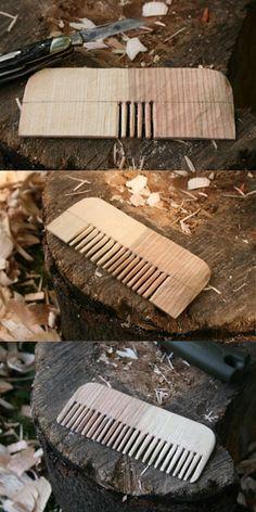 "Make a ""Bushcraft"" Wooden Comb with Only a Pocket Knife | Man Made DIY | Crafts for Men | Keywords: comb, craft, diy, wood"