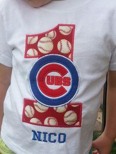 Cubs Personalized 1st Birthday Baseball Shirt 18 months | sockmonkeyshop - Clothing on ArtFire