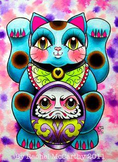 Lucky Cat  Daruma Doll art print by RachelMcCarthy1 on Etsy.