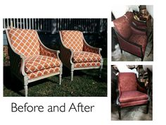 Stripped, painted, rubbed, and reupholstered.  A total transformation!