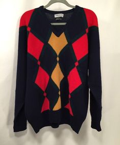 Bullock & Jones Sweater Mens L/XL 100% Lambswool Made in Scotland No Size Tag  #Gant #Crewneck
