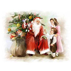 Dzieci i Mikołaj w pobliżu drzewo nowy rok — Zdjęcie stockowe © Teniteni #32510409