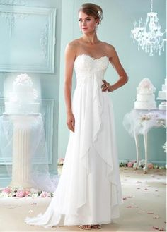 Chic Chiffon Sweetheart Neckline A-line Wedding Dresses with Beaded Venice Lace