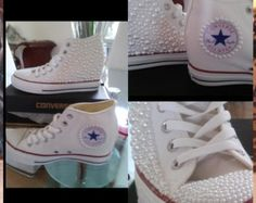 White Leather Blinged ALL STAR Converse by WEWTrends on Etsy
