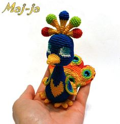 Crochet peacock unique design Amigurumi Home by MajjaCrochet