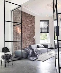 70 Awesome Minimalist Living Room Decor Ideas - Home design ideas Living Room Interior, Home Living Room, Living Room Designs, Living Room Decor, Living Room Brick Wall, Apartment Living, Industrial Living Rooms, Bathroom Interior, Brick Room
