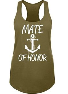 Set sail toward the wedding day with this anchor motif 'Mate of Honor' racerback tank top. Sporty and feminine, this tank has a light and flowy fit for easy wear!  Great for a Bachelorette Party! Features and Facts:  This fun 'Mate of Honor' tank top matches our 'Bride' and 'Brides Mate' anchor styles.  All perfect for a Bachelorette Party or Bridal Shower!  Available in Misses and Plus Sizes.    Material:  60% Cotton and 40% Poly fabric.   Machine
