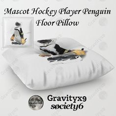 Little Mascot Hockey Player Penguin  Floor Pillow at #Society6 by #Gravityx9 Designs - #icehockey #penguinshockey #hockeyplayer #sports4you