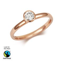 Cred Jewellery Classic Rubover Rose Gold Solitaire. A modern solitaire engagement ring in a beautiful warm #Fairtrade rose gold setting. RRP: £1,140.00 http://credjewellery.com/collections/engagement-rings/products/rubover-rose-gold-engagement-ring