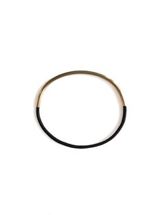 Gold plated bracelet combined with black elastic. diameter 2,5mm www.etsy.com/shop/LWfinejewelry