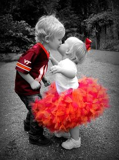 so cute-Go Hokies...a kiss for good luck before the game!