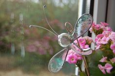 Abstract Stained Glass White Dragonfly Plant Ornament via Etsy